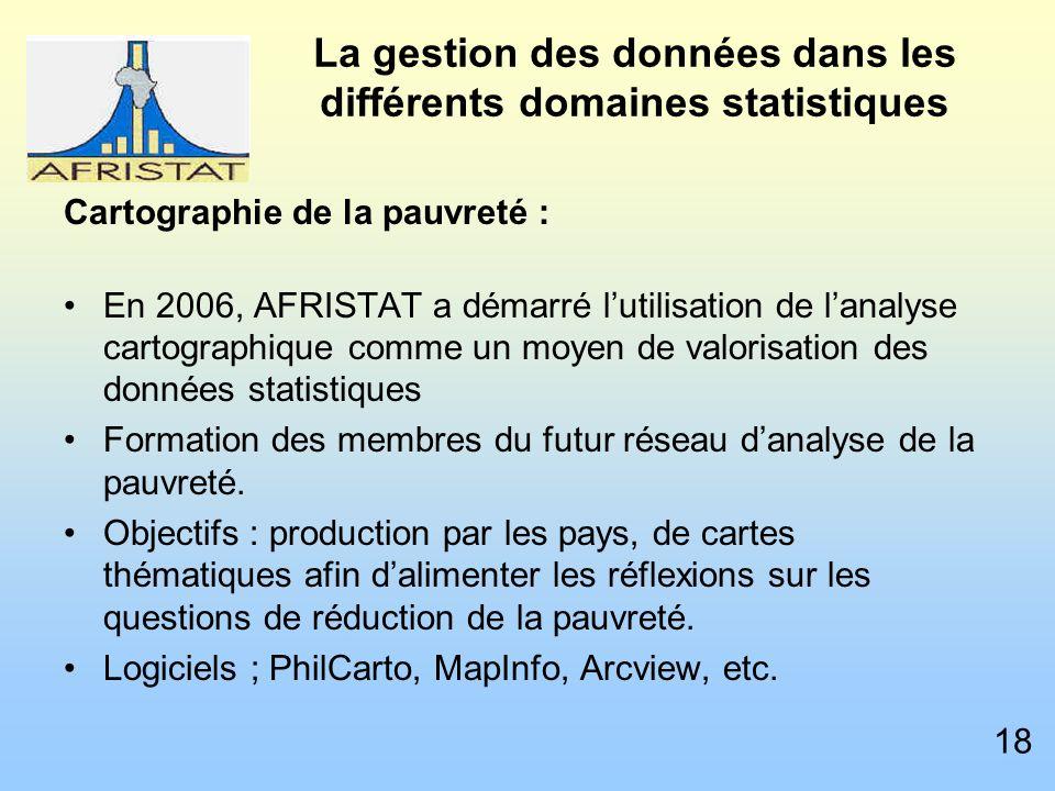 La gestion des données dans les différents domaines statistiques Cartographie de la pauvreté : En 2006, AFRISTAT a démarré lutilisation de lanalyse cartographique comme un moyen de valorisation des données statistiques Formation des membres du futur réseau danalyse de la pauvreté.