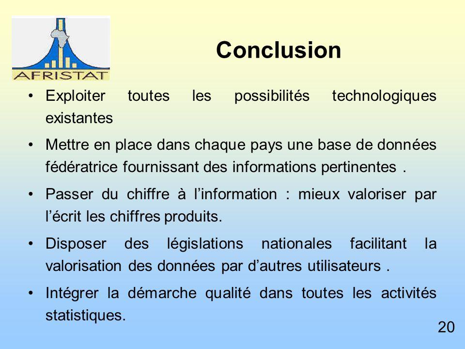 Conclusion Exploiter toutes les possibilités technologiques existantes Mettre en place dans chaque pays une base de données fédératrice fournissant des informations pertinentes.