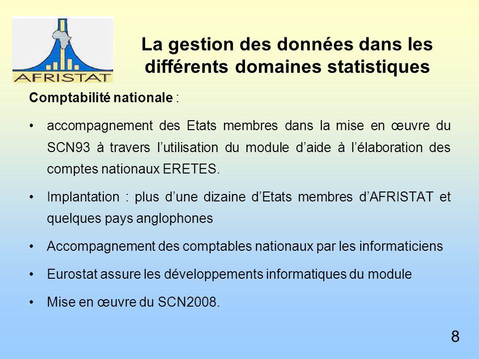 La gestion des données dans les différents domaines statistiques Comptabilité nationale : accompagnement des Etats membres dans la mise en œuvre du SCN93 à travers lutilisation du module daide à lélaboration des comptes nationaux ERETES.