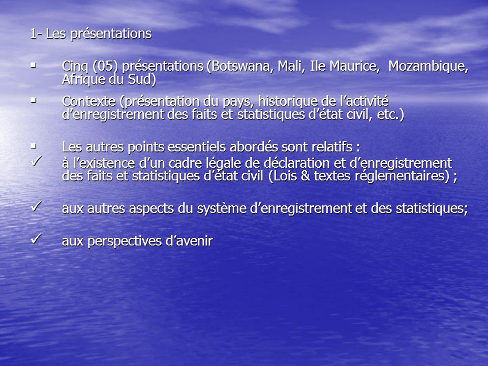 1- Les présentations Cinq (05) présentations (Botswana, Mali, Ile Maurice, Mozambique, Afrique du Sud) Cinq (05) présentations (Botswana, Mali, Ile Ma