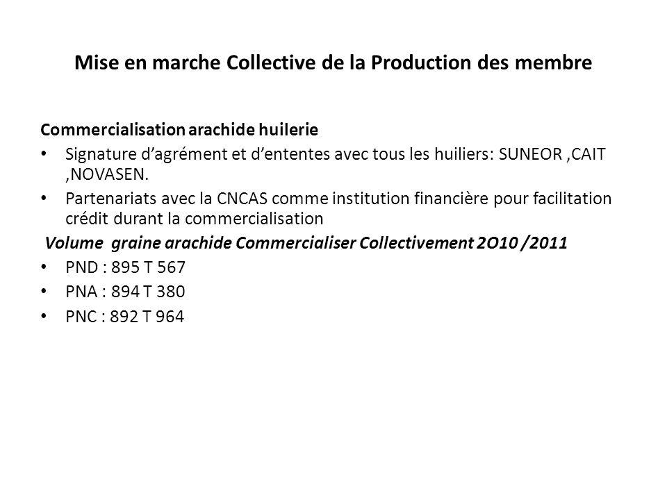 Mise en marche Collective de la Production des membre Commercialisation arachide huilerie Signature dagrément et dententes avec tous les huiliers: SUN