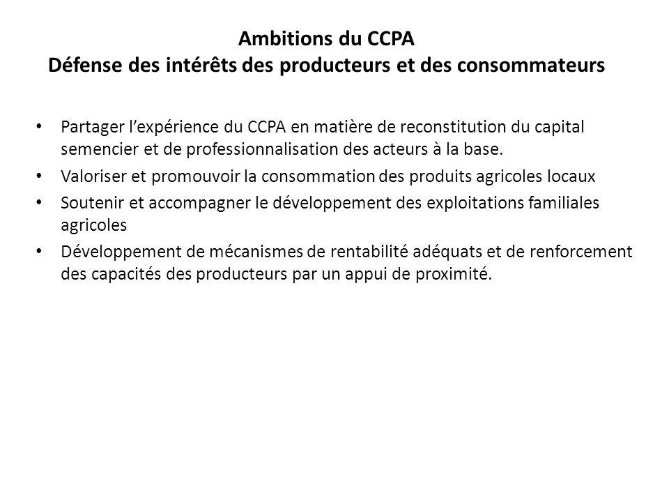 Ambitions du CCPA Défense des intérêts des producteurs et des consommateurs Partager lexpérience du CCPA en matière de reconstitution du capital semen