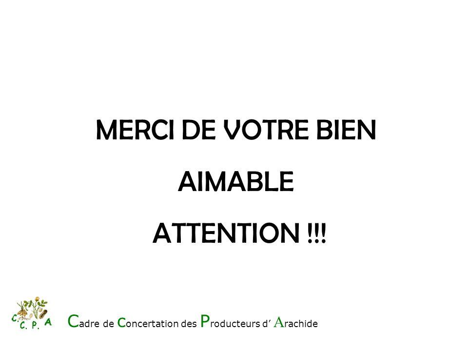MERCI DE VOTRE BIEN AIMABLE ATTENTION !!! C adre de c oncertation des P roducteurs d A rachide