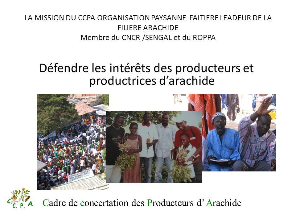 LA MISSION DU CCPA ORGANISATION PAYSANNE FAITIERE LEADEUR DE LA FILIERE ARACHIDE Membre du CNCR /SENGAL et du ROPPA Défendre les intérêts des producte