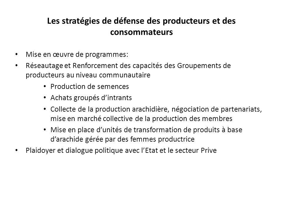 Les stratégies de défense des producteurs et des consommateurs Mise en œuvre de programmes: Réseautage et Renforcement des capacités des Groupements d