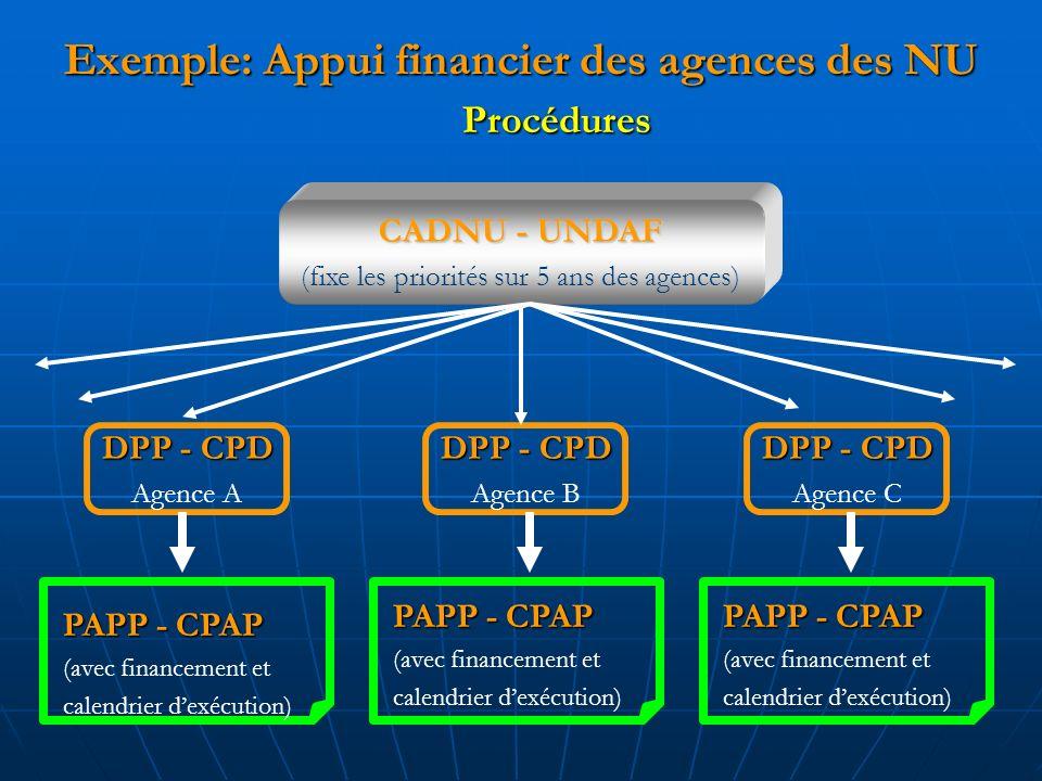 Exemple: Appui financier des agences des NU CADNU - UNDAF (fixe les priorités sur 5 ans des agences) PAPP - CPAP (avec financement et calendrier dexécution) DPP - CPD Agence A DPP - CPD Agence C DPP - CPD Agence B PAPP - CPAP (avec financement et calendrier dexécution) PAPP - CPAP (avec financement et calendrier dexécution) Procédures