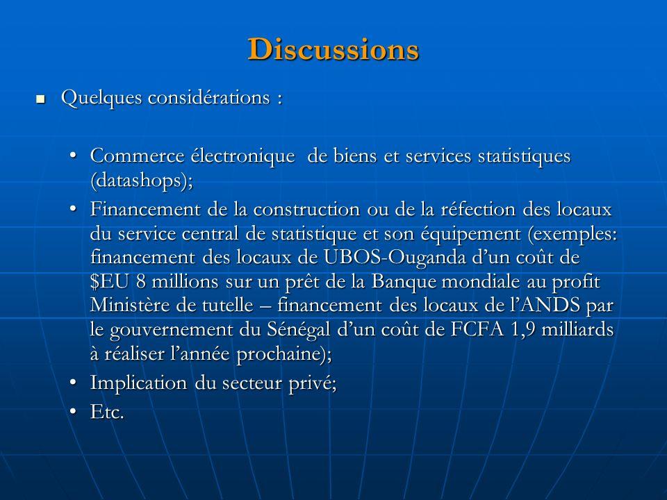 Discussions Quelques considérations : Quelques considérations : Commerce électronique de biens et services statistiques (datashops);Commerce électroni