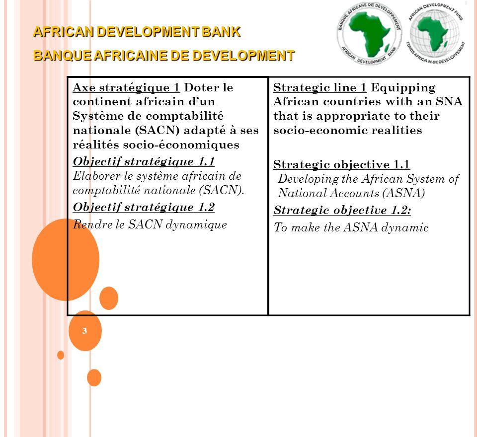 3 Axe stratégique 1 Doter le continent africain dun Système de comptabilité nationale (SACN) adapté à ses réalités socio-économiques Objectif stratégi