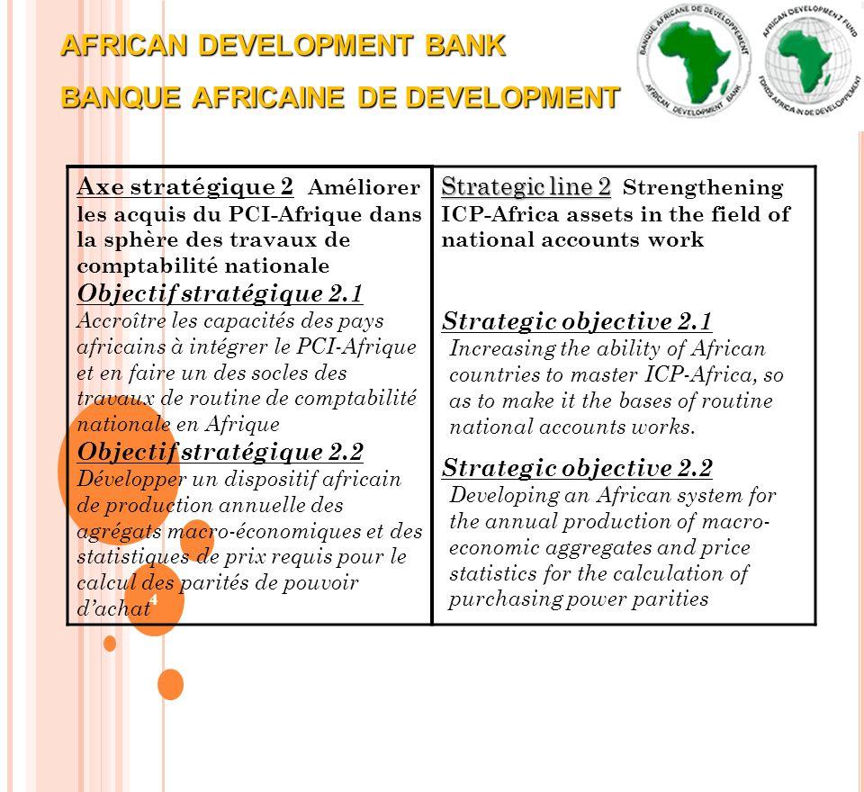 AFRICAN DEVELOPMENT BANK BANQUE AFRICAINE DE DEVELOPMENT 4 Axe stratégique 2 Améliorer les acquis du PCI-Afrique dans la sphère des travaux de comptab