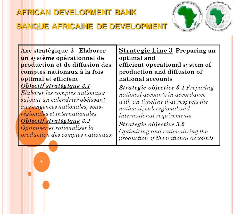 AFRICAN DEVELOPMENT BANK BANQUE AFRICAINE DE DEVELOPMENT 5 Axe stratégique 3 Elaborer un système opérationnel de production et de diffusion des compte