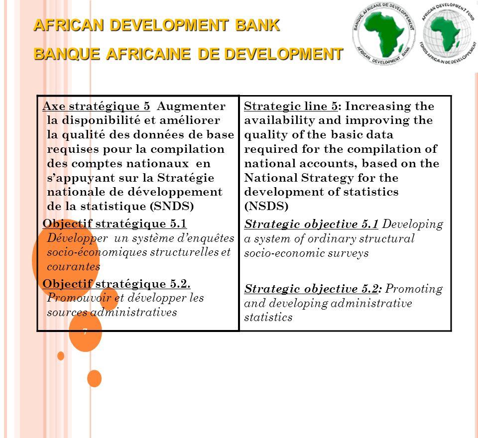 AFRICAN DEVELOPMENT BANK BANQUE AFRICAINE DE DEVELOPMENT 7 Axe stratégique 5 Augmenter la disponibilité et améliorer la qualité des données de base re