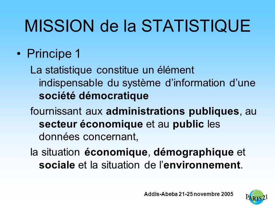 Addis-Abeba 21-25 novembre 2005 MISSION de la STATISTIQUE Principe 1 La statistique constitue un élément indispensable du système dinformation dune so