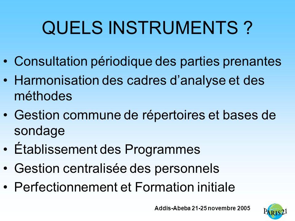 Addis-Abeba 21-25 novembre 2005 QUELS INSTRUMENTS ? Consultation périodique des parties prenantes Harmonisation des cadres danalyse et des méthodes Ge