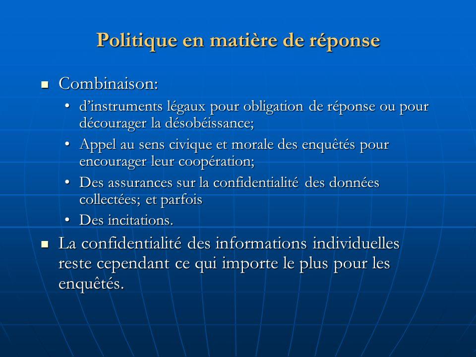 Politique en matière de réponse Combinaison: Combinaison: dinstruments légaux pour obligation de réponse ou pour décourager la désobéissance;dinstrume