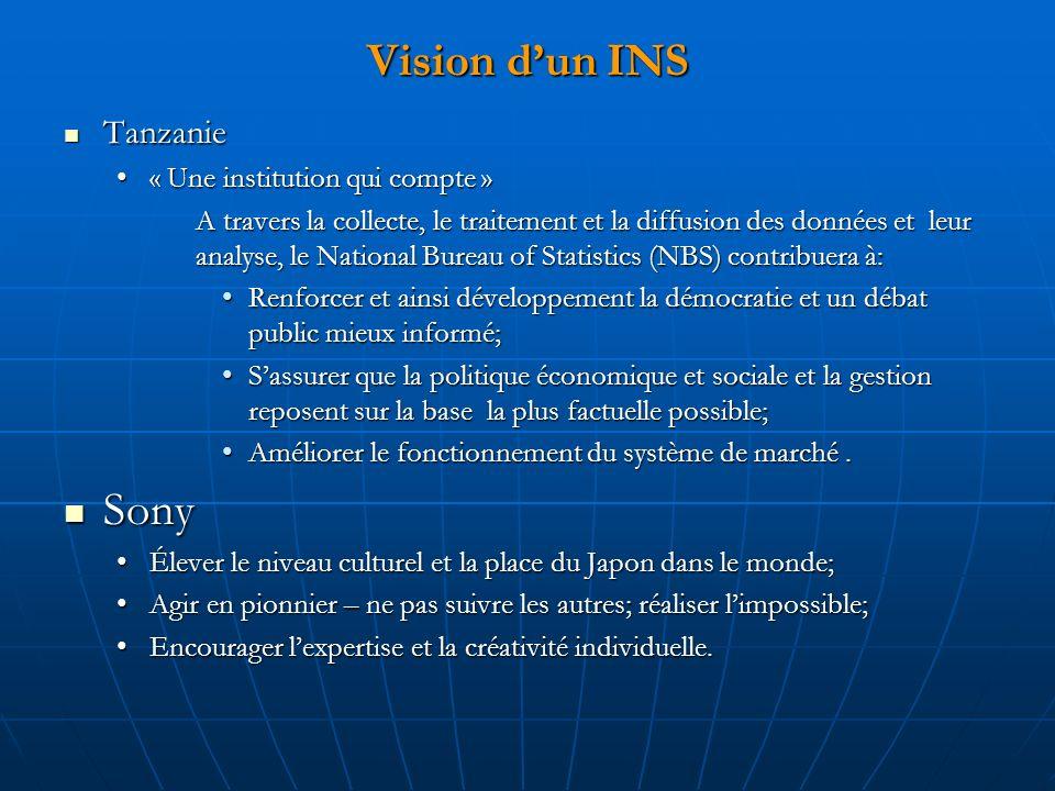 Vision dun INS Tanzanie Tanzanie « Une institution qui compte »« Une institution qui compte » A travers la collecte, le traitement et la diffusion des