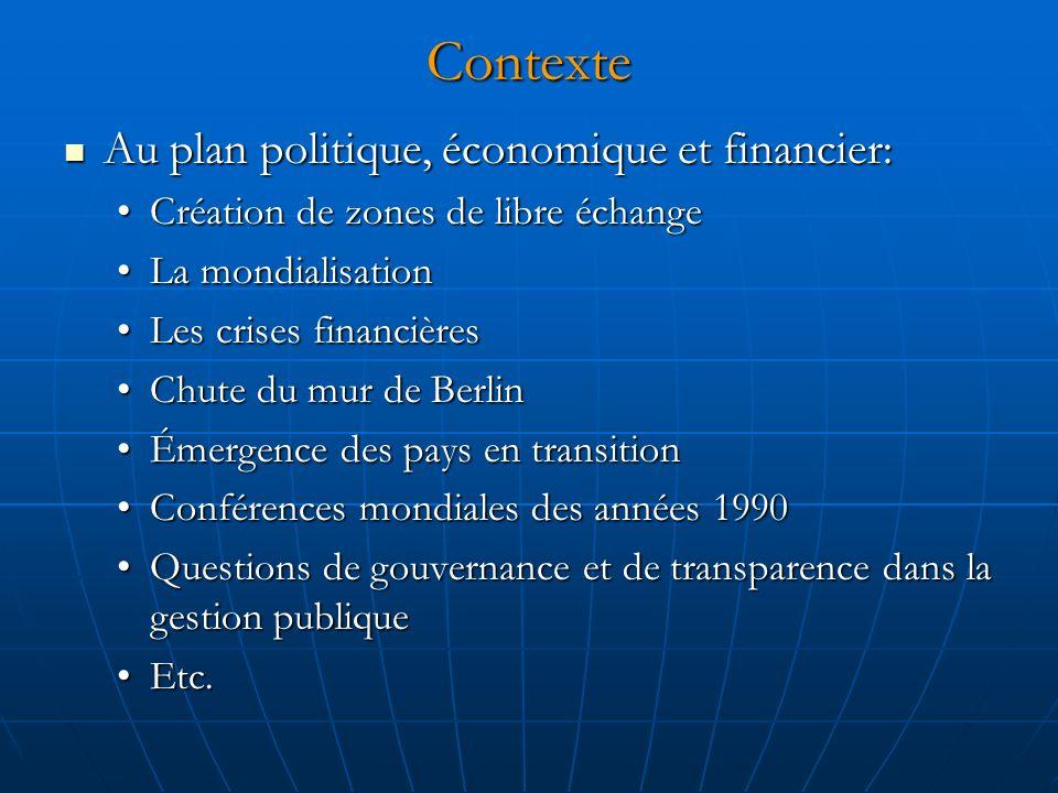 Contexte Au plan politique, économique et financier: Au plan politique, économique et financier: Création de zones de libre échangeCréation de zones d