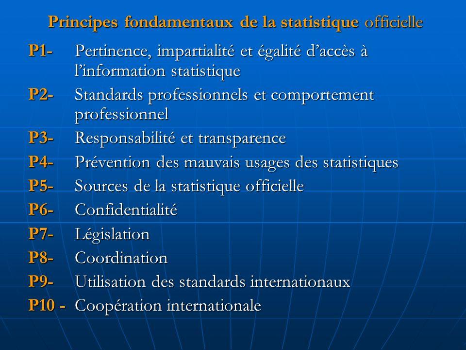 Principes fondamentaux de la statistique officielle P1- Pertinence, impartialité et égalité daccès à linformation statistique P2- Standards profession
