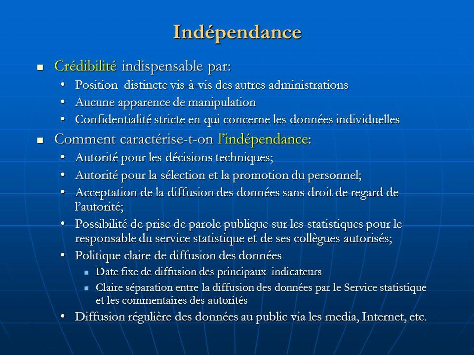 Principes fondamentaux de la statistique officielle P1- Pertinence, impartialité et égalité daccès à linformation statistique P2- Standards professionnels et comportement professionnel P3- Responsabilité et transparence P4- Prévention des mauvais usages des statistiques P5- Sources de la statistique officielle P6- Confidentialité P7- Législation P8-Coordination P9-Utilisation des standards internationaux P10 -Coopération internationale