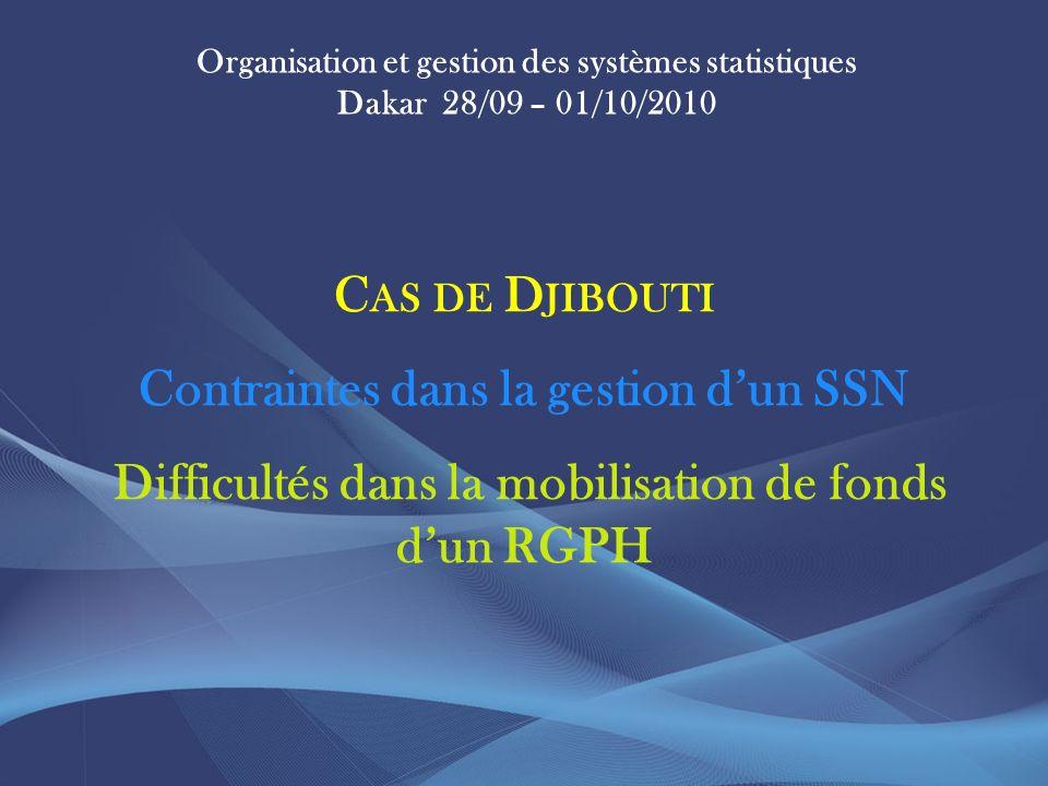Organisation et gestion des systèmes statistiques Dakar 28/09 – 01/10/2010 C AS DE D JIBOUTI Contraintes dans la gestion dun SSN Difficultés dans la mobilisation de fonds dun RGPH