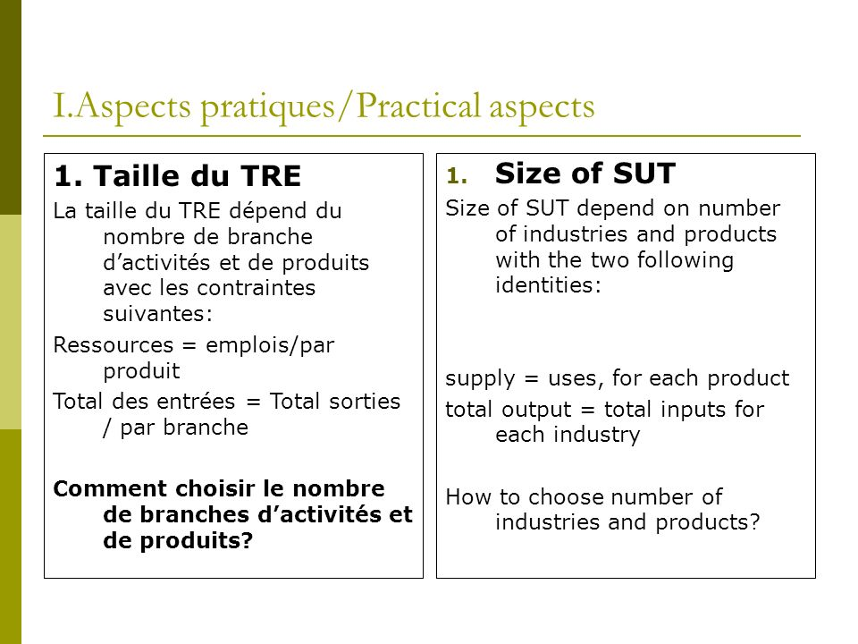I.Aspects pratiques/Practical aspects 1.