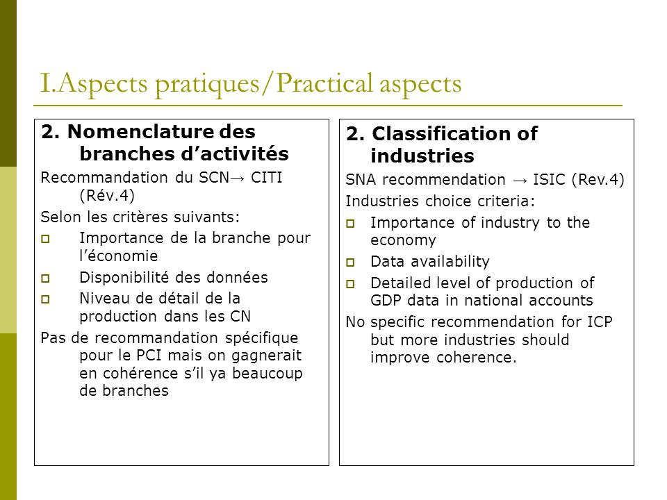 I.Aspects pratiques/Practical aspects 3.