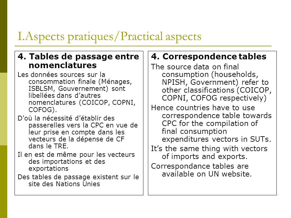 I.Aspects pratiques/Practical aspects 4. Tables de passage entre nomenclatures Les données sources sur la consommation finale (Ménages, ISBLSM, Gouver