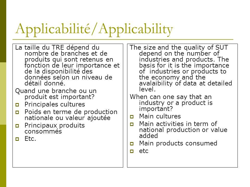 Applicabilité/Applicability La taille du TRE dépend du nombre de branches et de produits qui sont retenus en fonction de leur importance et de la disponibilité des données selon un niveau de détail donné.
