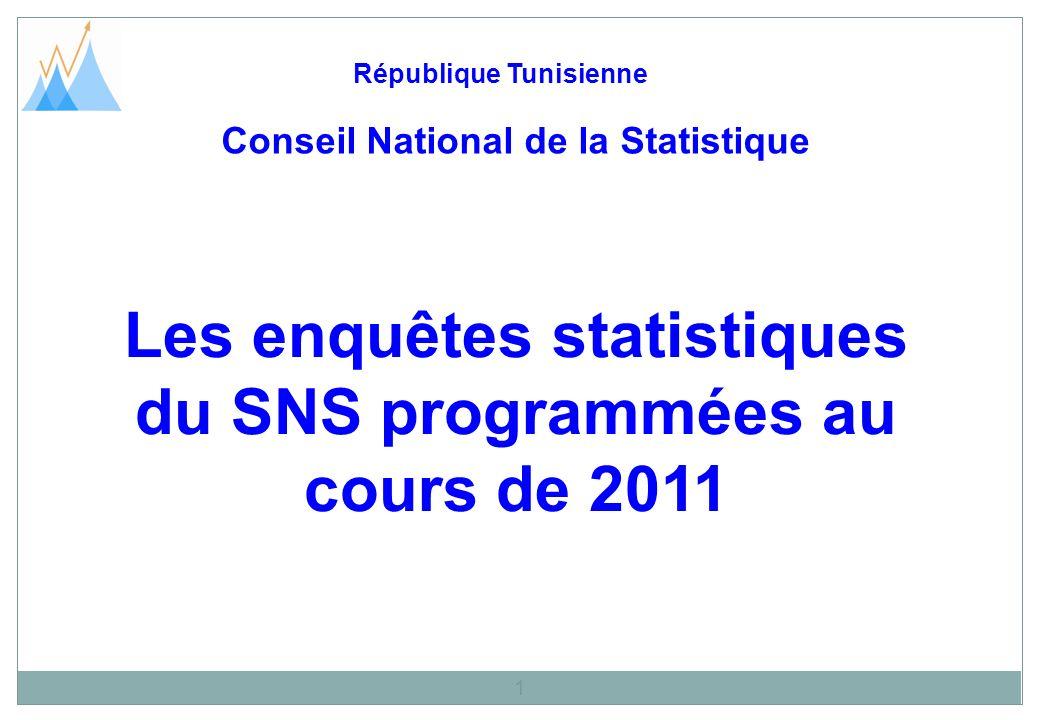 Les enquêtes statistiques du SNS programmées au cours de 2011 République Tunisienne 1 Conseil National de la Statistique