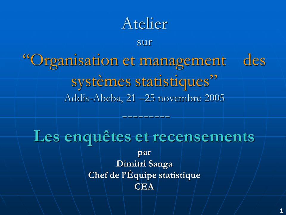 1 Atelier surOrganisation et management des systèmes statistiques Addis-Abeba, 21 –25 novembre 2005 --------- Les enquêtes et recensements par Dimitri