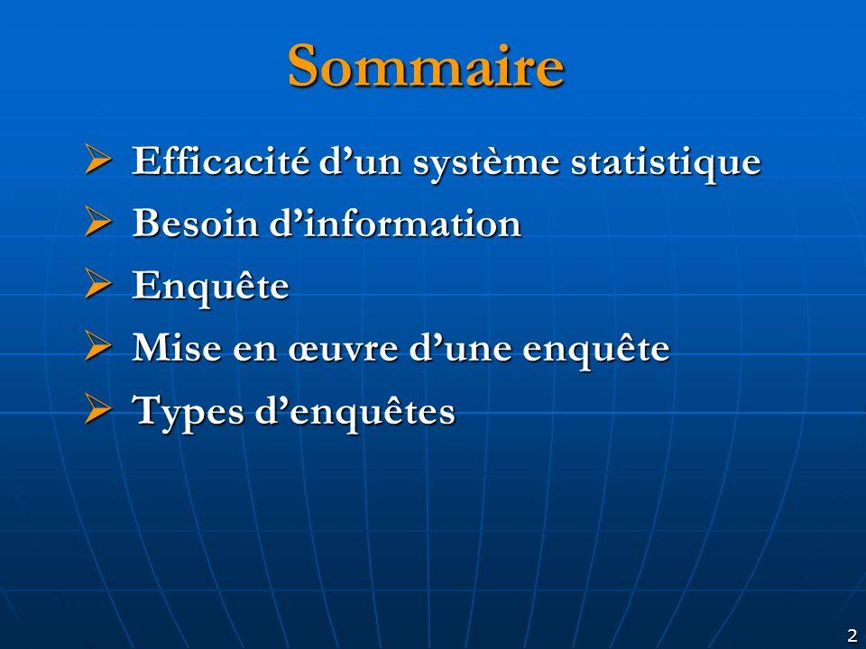 2 Sommaire Efficacité dun système statistique Efficacité dun système statistique Besoin dinformation Besoin dinformation Enquête Enquête Mise en œuvre