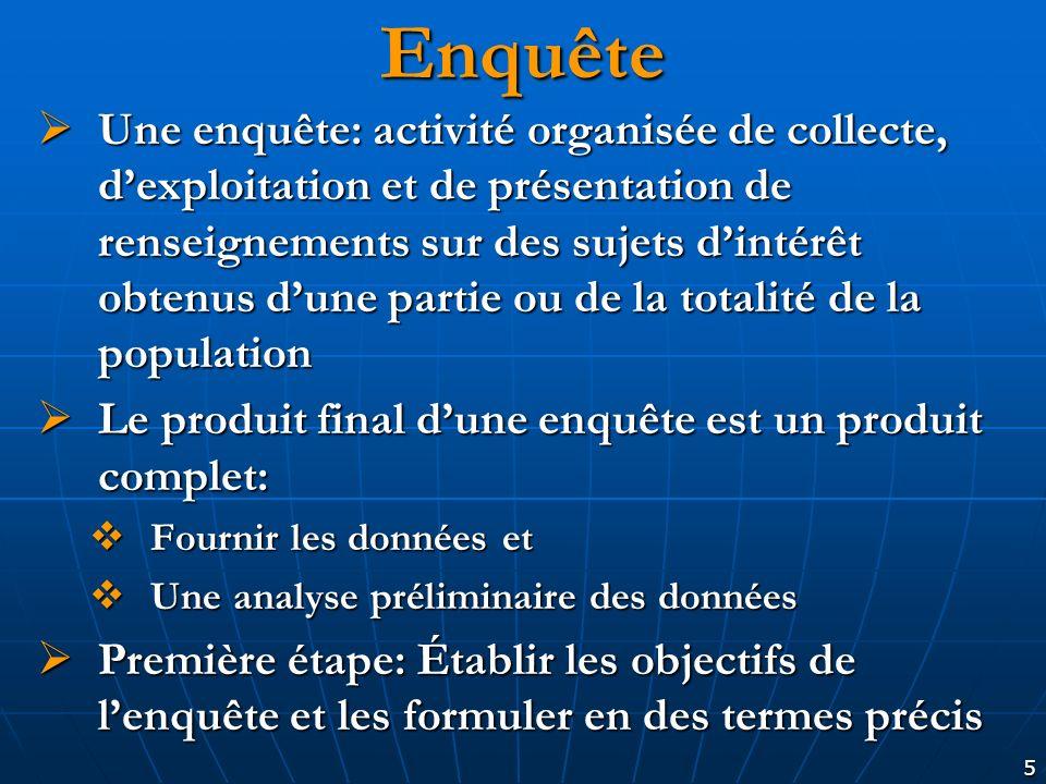 5 Enquête Une enquête: activité organisée de collecte, dexploitation et de présentation de renseignements sur des sujets dintérêt obtenus dune partie