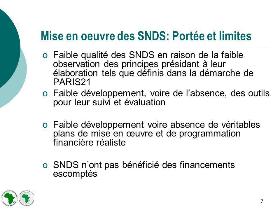 7 Mise en oeuvre des SNDS: Portée et limites oFaible qualité des SNDS en raison de la faible observation des principes présidant à leur élaboration te