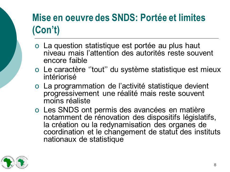 8 Mise en oeuvre des SNDS: Portée et limites (Cont) oLa question statistique est portée au plus haut niveau mais lattention des autorités reste souven
