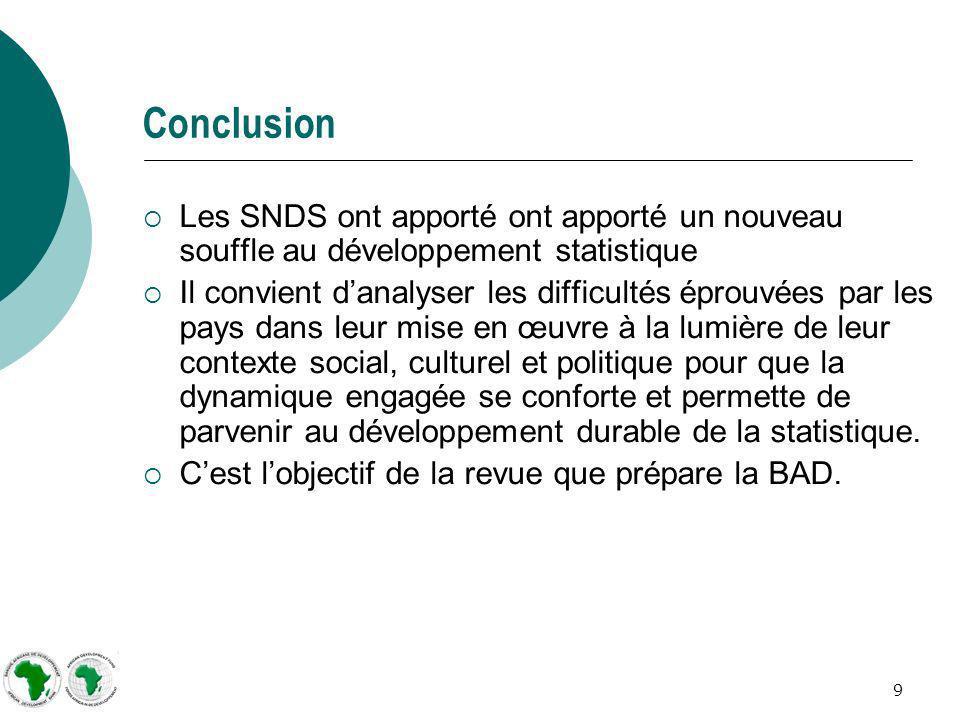 9 Conclusion Les SNDS ont apporté ont apporté un nouveau souffle au développement statistique Il convient danalyser les difficultés éprouvées par les