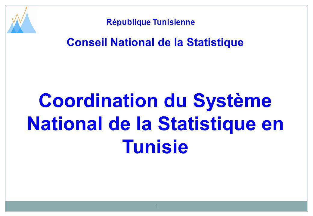 Coordination du Système National de la Statistique en Tunisie République Tunisienne 1 Conseil National de la Statistique