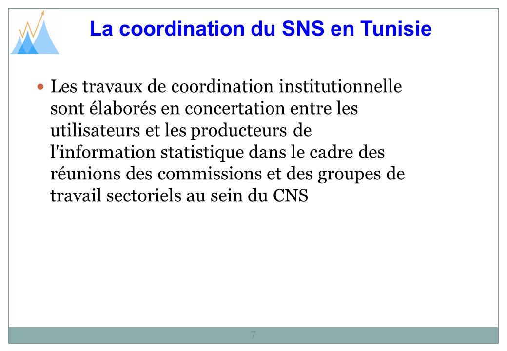 La coordination du SNS en Tunisie 7 Les travaux de coordination institutionnelle sont élaborés en concertation entre les utilisateurs et les producteurs de l information statistique dans le cadre des réunions des commissions et des groupes de travail sectoriels au sein du CNS