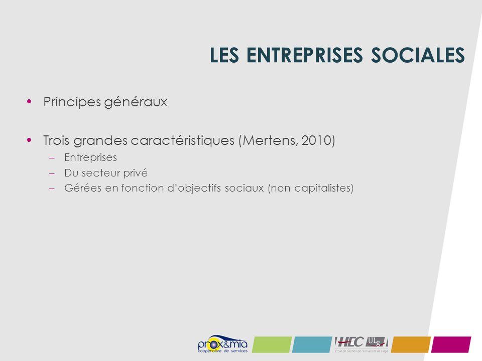LES ENTREPRISES SOCIALES Principes généraux Trois grandes caractéristiques (Mertens, 2010) –Entreprises –Du secteur privé –Gérées en fonction dobjectifs sociaux (non capitalistes)