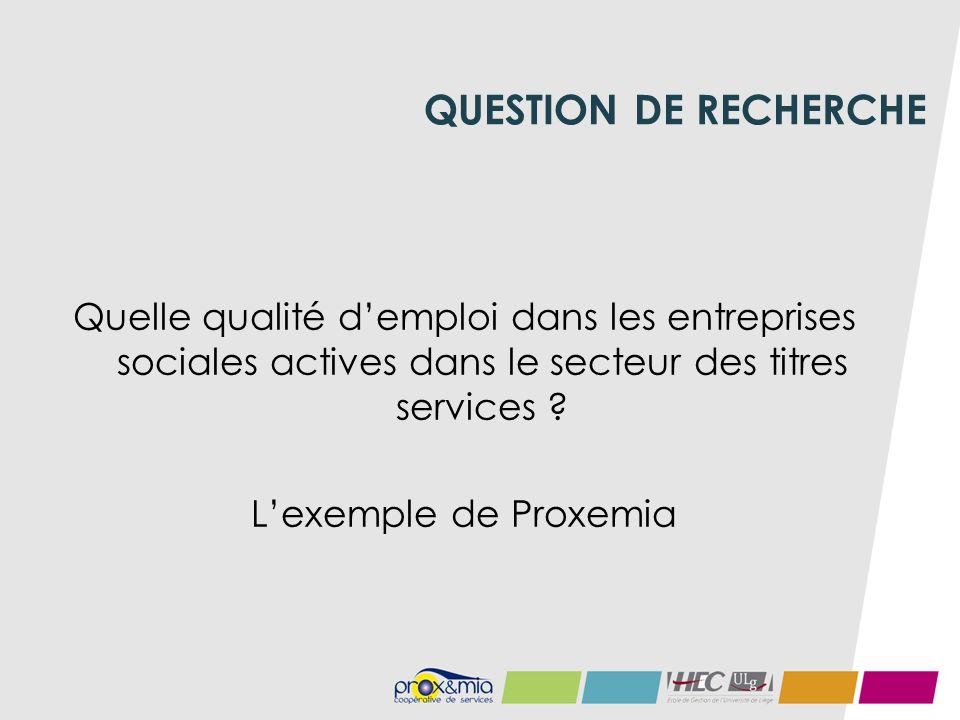 QUESTION DE RECHERCHE Quelle qualité demploi dans les entreprises sociales actives dans le secteur des titres services .