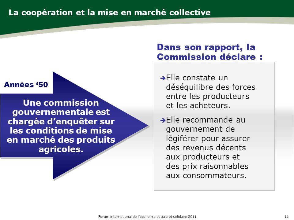 11Forum international de léconomie sociale et solidaire 2011 La coopération et la mise en marché collective Elle constate un déséquilibre des forces entre les producteurs et les acheteurs.