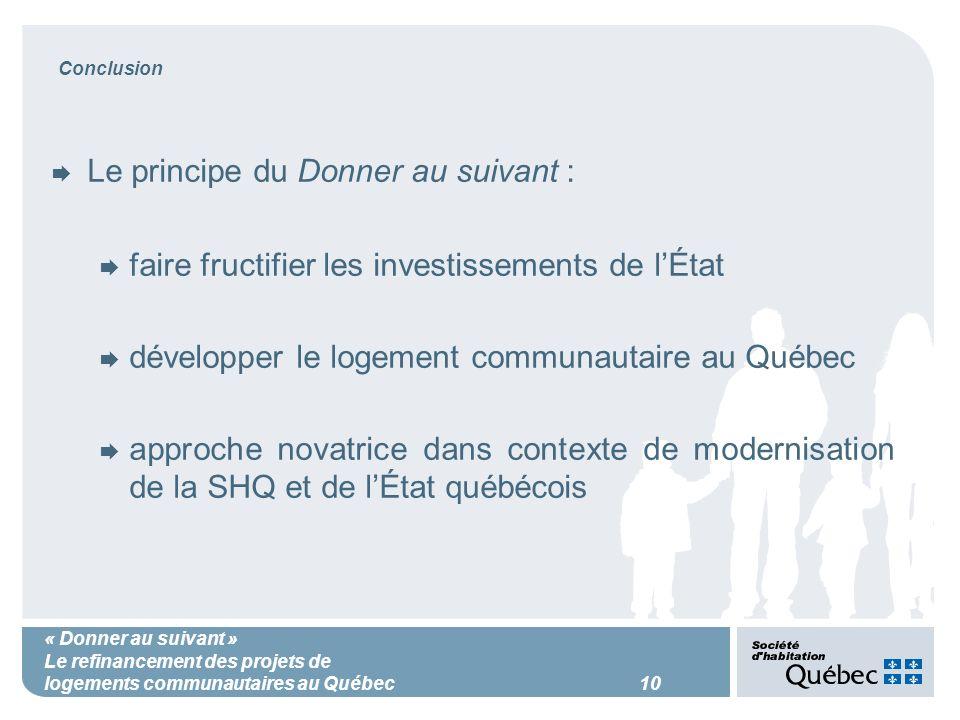 « Donner au suivant » Le refinancement des projets de logements communautaires au Québec 10 Conclusion Le principe du Donner au suivant : faire fructifier les investissements de lÉtat développer le logement communautaire au Québec approche novatrice dans contexte de modernisation de la SHQ et de lÉtat québécois