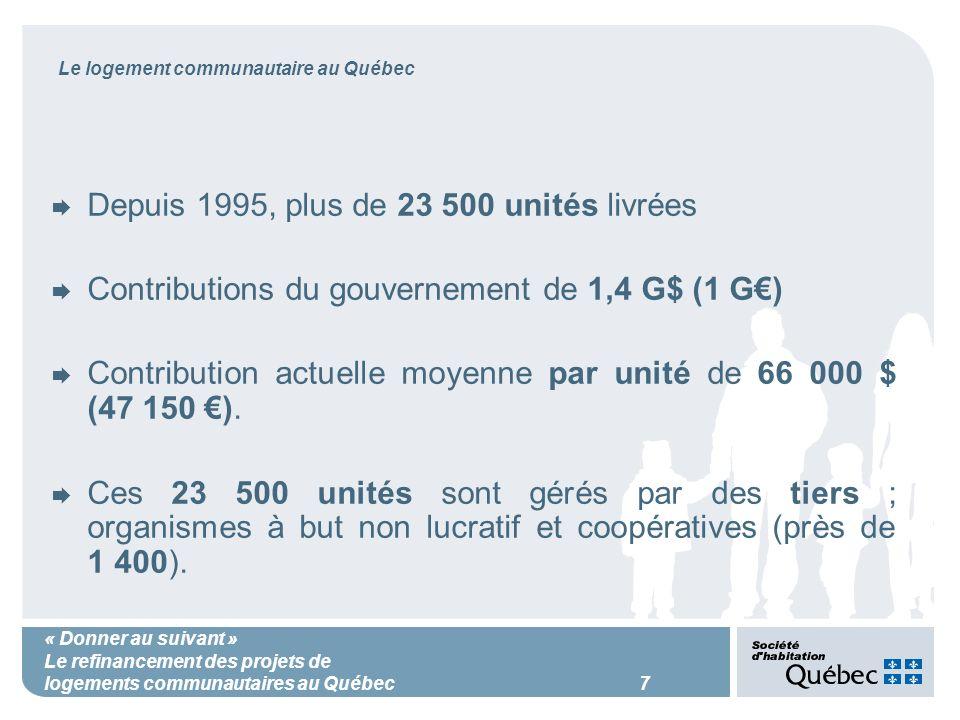 « Donner au suivant » Le refinancement des projets de logements communautaires au Québec 7 Le logement communautaire au Québec Depuis 1995, plus de 23 500 unités livrées Contributions du gouvernement de 1,4 G$ (1 G) Contribution actuelle moyenne par unité de 66 000 $ (47 150 ).