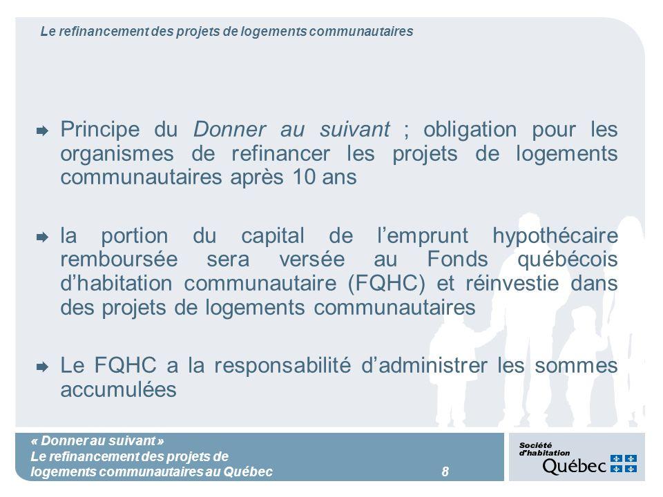 « Donner au suivant » Le refinancement des projets de logements communautaires au Québec 8 Le refinancement des projets de logements communautaires Principe du Donner au suivant ; obligation pour les organismes de refinancer les projets de logements communautaires après 10 ans la portion du capital de lemprunt hypothécaire remboursée sera versée au Fonds québécois dhabitation communautaire (FQHC) et réinvestie dans des projets de logements communautaires Le FQHC a la responsabilité dadministrer les sommes accumulées