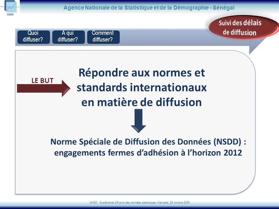 Quoi diffuser? Agence Nationale de la Statistique et de la Démographie - Sénégal ANSD : Système de diffusion des données statistiques - Kampala, 28 oc