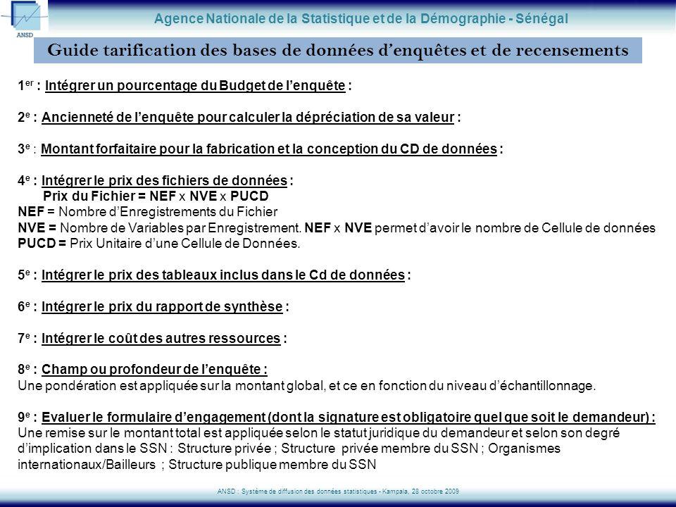 Guide tarification des bases de données denquêtes et de recensements Agence Nationale de la Statistique et de la Démographie - Sénégal ANSD : Système