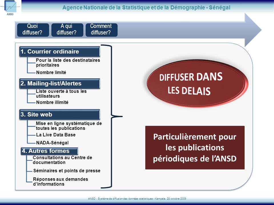 Agence Nationale de la Statistique et de la Démographie - Sénégal Quoi diffuser? ANSD : Système de diffusion des données statistiques - Kampala, 28 oc