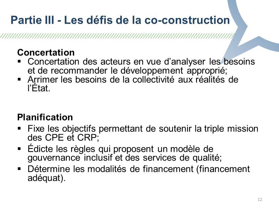 12 Concertation Concertation des acteurs en vue danalyser les besoins et de recommander le développement approprié; Arrimer les besoins de la collectivité aux réalités de lÉtat.