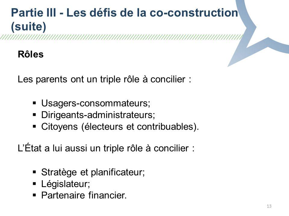 13 Rôles Les parents ont un triple rôle à concilier : Usagers-consommateurs; Dirigeants-administrateurs; Citoyens (électeurs et contribuables).