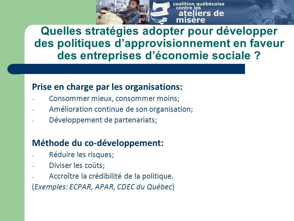 Quelles stratégies adopter pour développer des politiques dapprovisionnement en faveur des entreprises déconomie sociale .