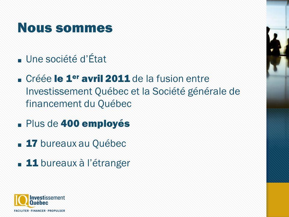 Nous sommes Une société dÉtat Créée le 1 er avril 2011 de la fusion entre Investissement Québec et la Société générale de financement du Québec Plus de 400 employés 17 bureaux au Québec 11 bureaux à létranger