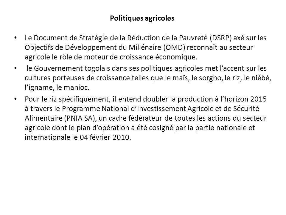 Politiques agricoles Le Document de Stratégie de la Réduction de la Pauvreté (DSRP) axé sur les Objectifs de Développement du Millénaire (OMD) reconna